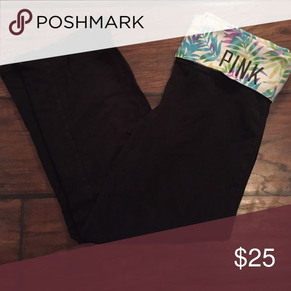 PINK cropped leggings Cropped leggings, multi coloured leaf print, fold over top, great condition PINK Victoria's Secret Pants Leggings
