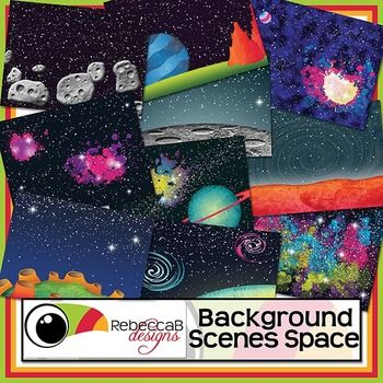 Background Scenes Space contains 10 colored and 10 black, white and grey Space themed background scenes for your products. Simply place your text and clip art over the background scene. Create product covers, posters, dioramas, worksheets, activities and other teaching resources.