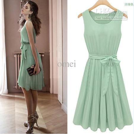 Planning to get a pastel colored dress for this year's Annual Office Event   Womens sleeveless Pleated cocktail party dress