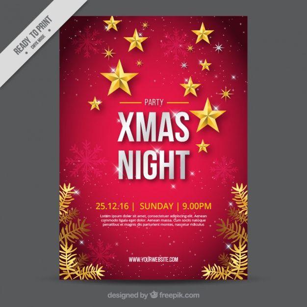 Genial folleto de navidad con copos de nieve y estrellas Vector Gratis
