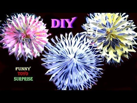 DIY How to make beautiful paper decoration 3D snowflake DIY如何做出漂亮的装饰纸雪花3D 折り紙 origami decoración de papel hermosa with Funny Toyo Surprise. Don't forget to l...