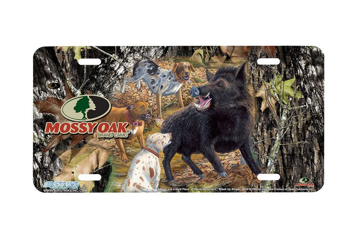 """Airstrike® Mossy Oak License Plate 8026-""""Break Up Ringer with A Rock and a Hard Place""""-Mossy Oak Camo Wild Boar Hunting License Plate"""
