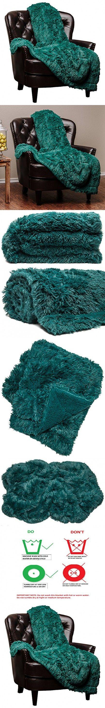 Chanasya Super Soft Long Shaggy Chic Fuzzy Fur Faux Fur Warm Elegant Cozy With Fluffy Sherpa Teal Throw Blanket - Solid Shaggy Teal