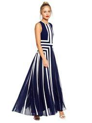 Sleeveless O Neckline Women Striped Maxi Dress #WITCHERYSTYLE