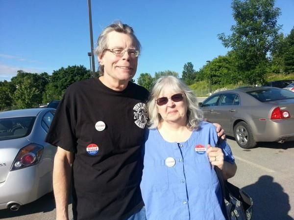 #StephenKing and Tabitha King were at the Cross Insurance Center polls in Bangor June 18 to support a $3 million bond for the replacement of Bangor Public Library's roof.