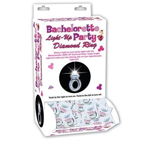 Our Bachelorette Party Light Up Diamond Ring Favor box set will make any Bachelorette Party or Hen's Party much more fun. Shine a light on your party night when