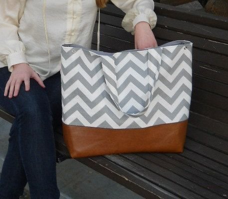 Chevron diaper bag, gray chevron and genuine leather market tote bag in gray chevron and leather bottom love