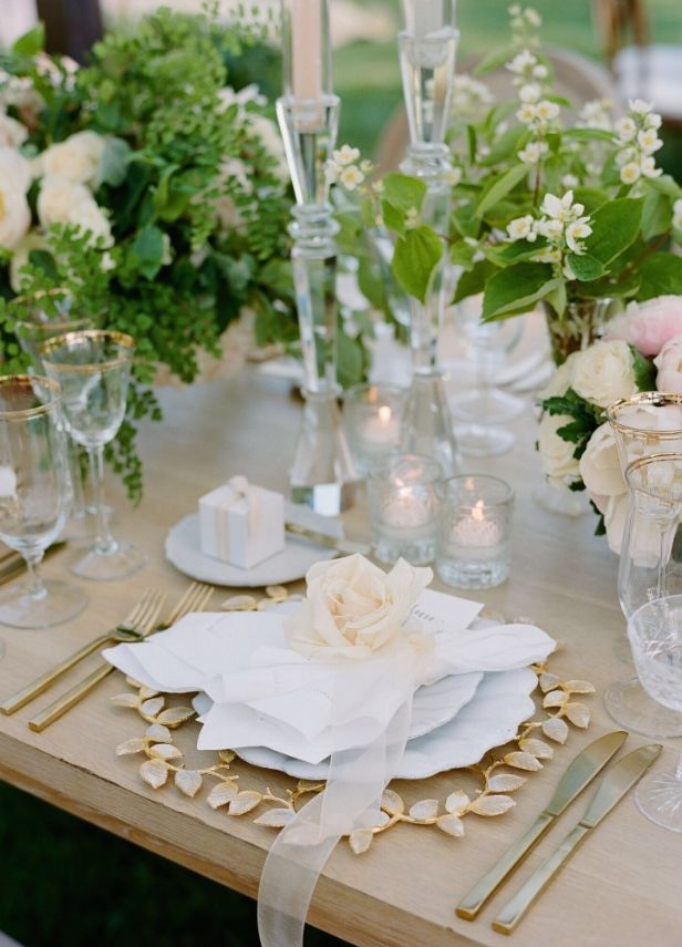 The ARK collection - Golden Vine Charger / French Porcelain Beaded Dinner / Amalfi B&B / Vintage Crystal Coupes - with BRIDE's LIVE wedding and Brooke Keegan. Images by Joel Serrato