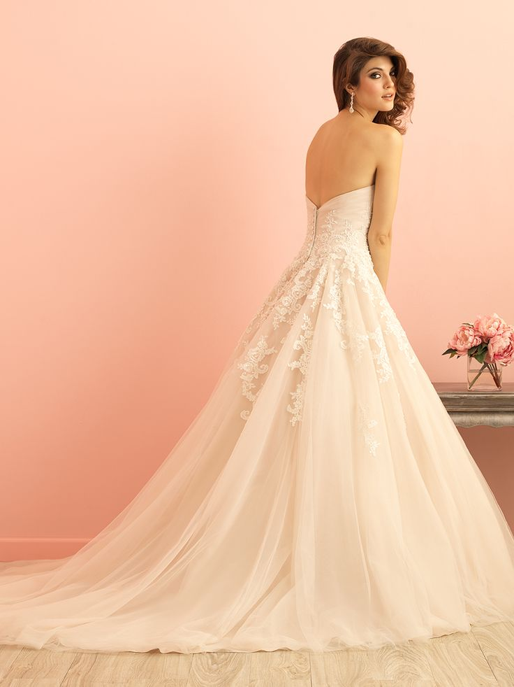 Allure Bridals 2852 Back With Train Romantic Blush Pink Strapless Wedding Dress Bridal Gown Lace And Tulle