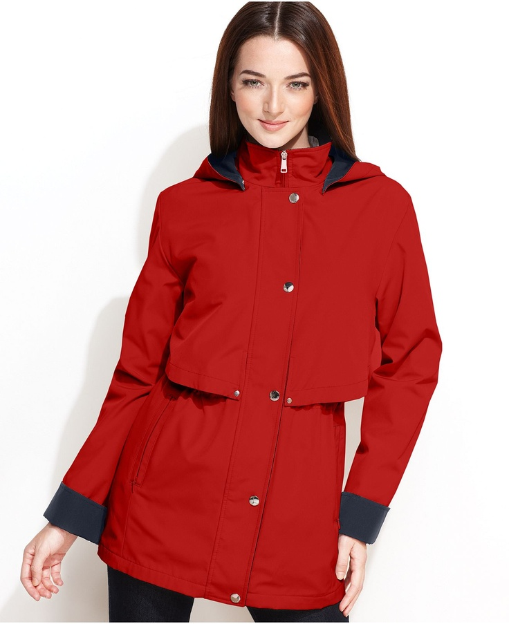 Nautica Raincoat Hooded Layered Anorak Womens Coats