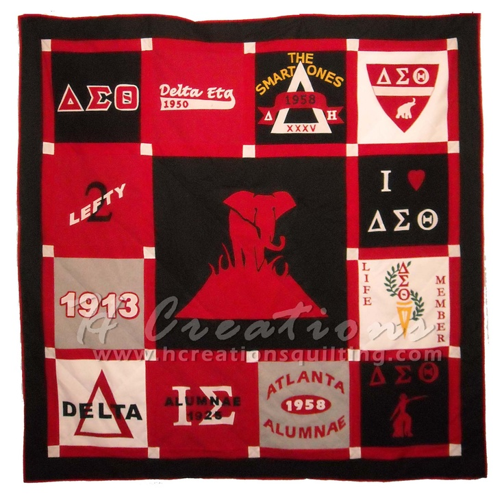 Delta Sigma Theta quilt - you can take your old Delta shirts that aren't wearable and make a quilt like this