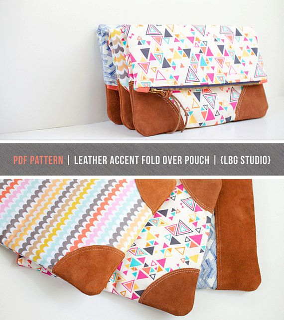 PDF Sewing Pattern Leather Accent Fold Over Pouch by LBGstudio