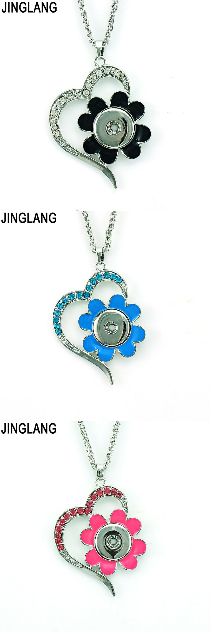 Necklaces pendants 144 pinterest fashion pendant necklaces 18mm snap buttons rhinestone heart interchangeable statement necklaces for women jewelry mozeypictures Gallery