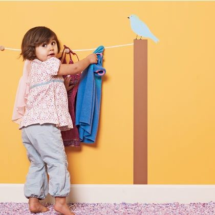 for dress up area? Painted clothes line with hooks - must do this!