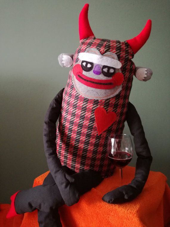 Unique STUFFED DEVIL Handmade OOAK. Devil toy. Devil doll.