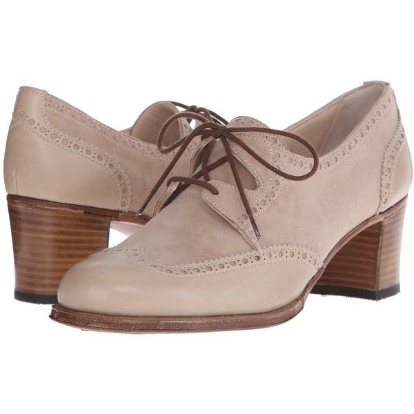 Gravati Mou Leather and Velukid Heeled Wingtip (Sand/Deep Sand)... (303,550 KRW) ❤ liked on Polyvore featuring shoes, beige, laced shoes, leather shoes, platform lace up shoes, leather upper shoes and mid-heel shoes