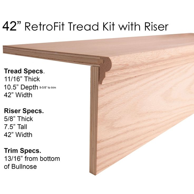 RetroFit Tread Kit With Riser Remove Carpet Add Hardwood For Stair Remodel