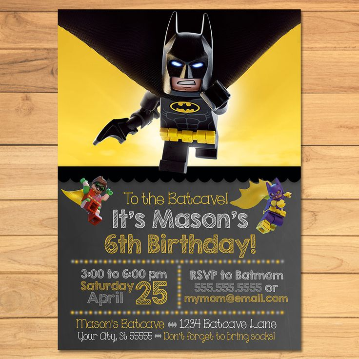 "Thanks for checking out my Lego Batman Invitation for your Lego Batman Party! This Lego Batman Invitation is the perfect addition to your Lego Batman Birthday Party! ⚒ Instructions - Please send me the following information so I may complete your order. Simply place it in the ""Message to the Seller"" box when you check out. ~ Name of Child ~ Age of Child ~ Date of Party ~ Time of Party ~ Location and Address of Party ~ RSVP Information ~ Any other changes you'd li..."
