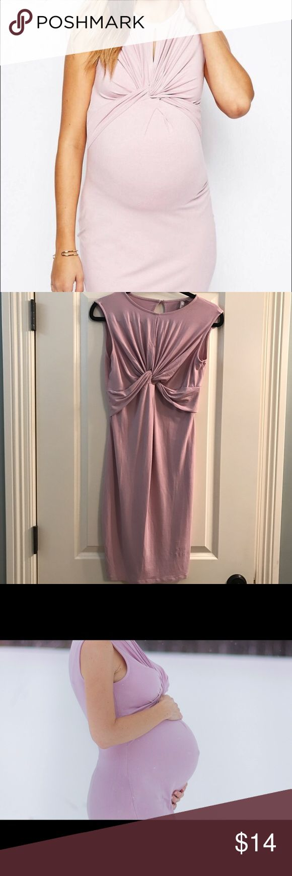 ASOS maternity dress size 4 (US) Pretty asos maternity dress . I wore for my maternity photo shoot. Size 4 . Beautiful pink color! Would look amazing this spring ! Comfy and pretty! ASOS Dresses Midi