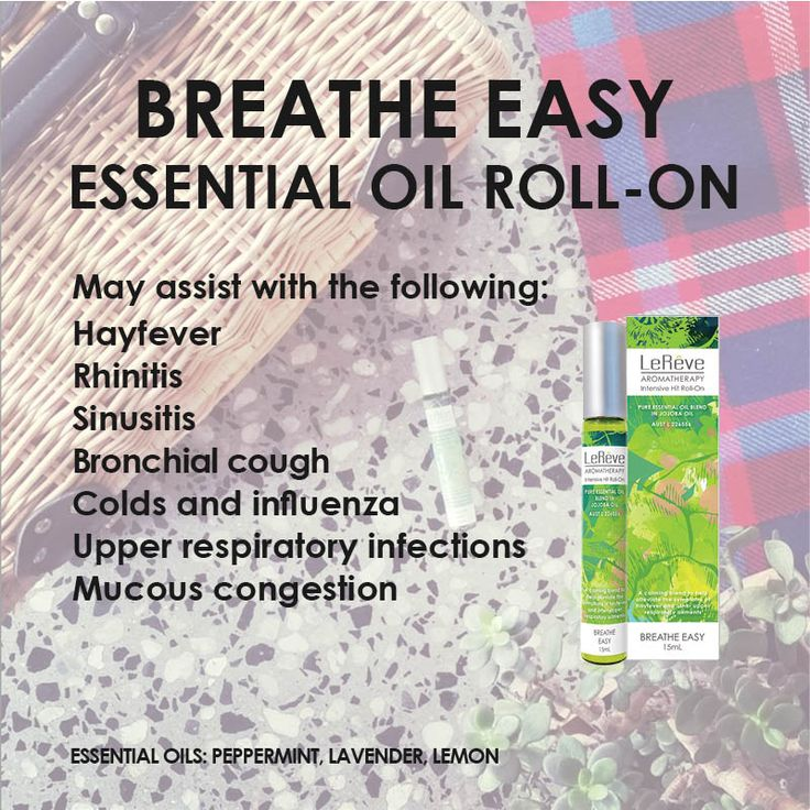Breathe Easy Essential Oil Roll-On - assists with hay fever, rhinitis, sinusitis, bronchial cough, colds, influenza, upper respiratory infections, mucous congestion and more.