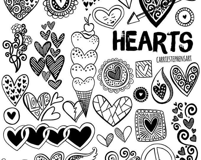 Line Heart Border Clipart Heart Digital Stamps Printable Etsy Clip Art Borders Line Art Images Clip Art