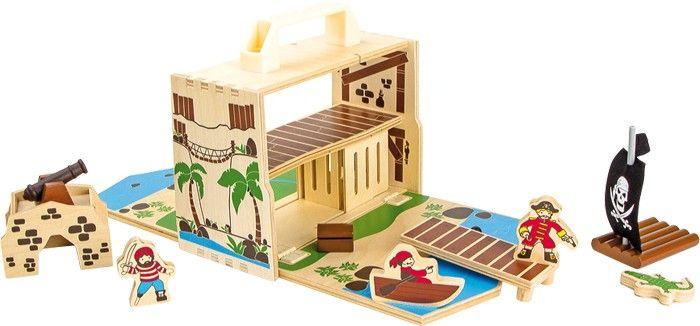 Para vivir una aventura pirata al completo #juegodepiratas #piratasinfantiles http://www.babycaprichos.com/casa-maletin-de-madera-isla-pirata.html