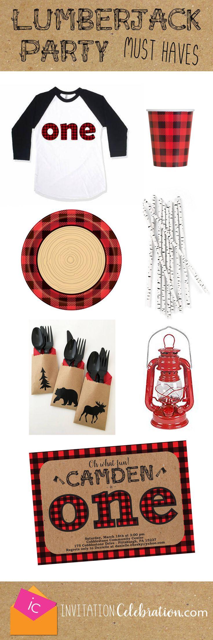 Lumberjack first birthday ideas.  Boy Winter Birthday.  Buffalo Plaid.  Woods. #lumberjack