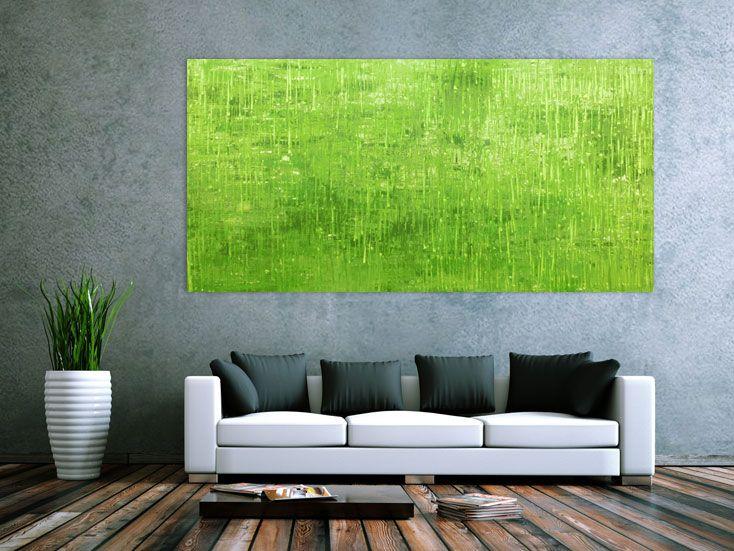 Abstraktes Acrylbild grün modern 100x200cm von xxl-art.de