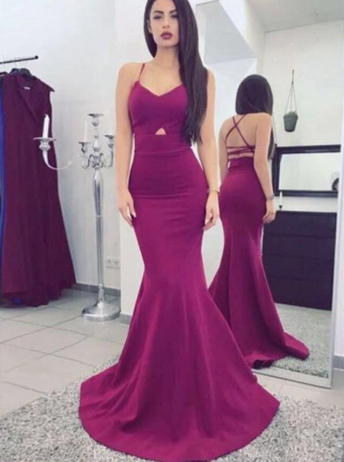 e896400ad2c Sweep Train Grape Spaghetti Straps V Neck Long Prom Dresses Sheath Open Back  Evening Dresses