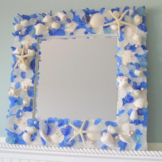 Beach Decor Sea Glass & Seashell Mirror  by beachgrasscottage, $250.00