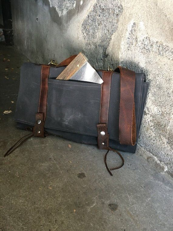 chef knife bag waxed canvas knife bag utensil bag by OldSoulBags