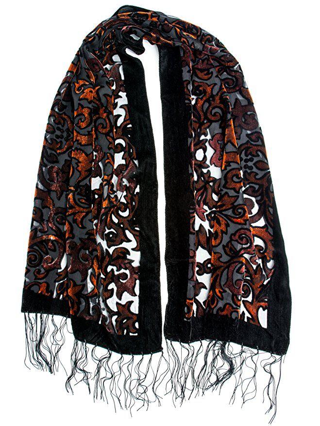 df9660161 1920s Style Shawls, Wraps, Scarves Silk Brocade Print Velvet Burnout Scarf  with Fringe Ends $17.95 AT vintagedancer.com