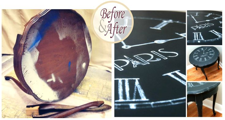 Salvaged Inspirations | Clock Table Chalk Transfer Before & After: