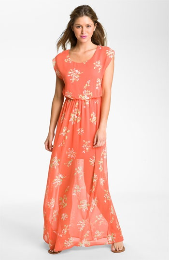Lush 'Harper' Maxi Dress (Juniors) available at Nordstrom NorthPark Center. This chiffon dress drapes with a billowy cap-sleeve and semi-sheer skirt to make a flirty veil for your gams.