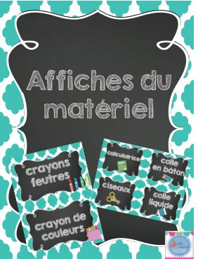 Affiches du matériel (référentiel) pour l'organisation des élèves/ French posters for school supply
