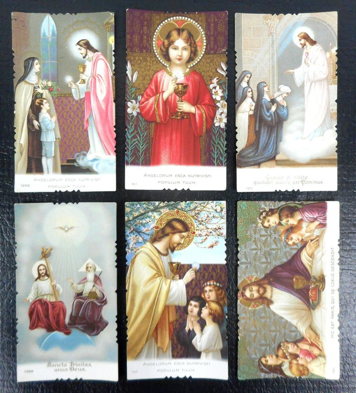 Lot of 6 Antique 1920's Religious Mini Cards Lithographs from Italy, Catholic Holly Scenes, Color & Gold Details, in Latin
