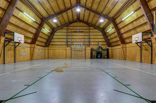 Barn converted to a basketball court