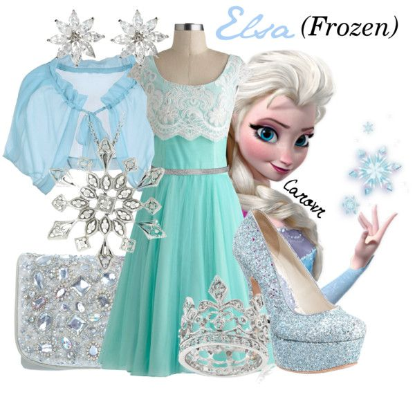 """""""Elsa (Frozen)"""" by carovr on Polyvore leave off the high heels and this would be great for a little girl."""