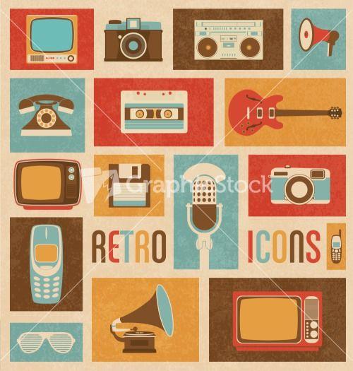 Retro Style Media Icons   Vintage Elements   Nostalgic Design   Good Old Days Feeling   Hipster Trend   Vector Set Stock Image