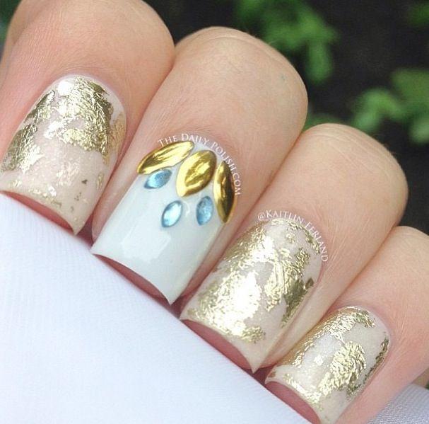16 best Nailart - Leaf Nails images on Pinterest | Gold leaf, Nail ...