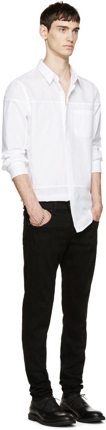 Helmut Lang White Poplin Gauze Mesh Shirt