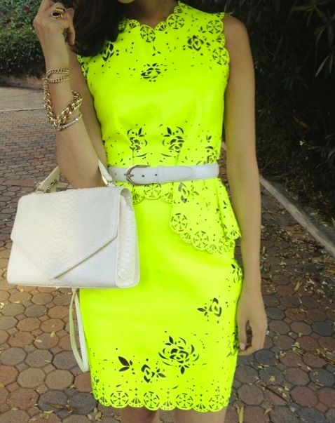 Neon Dress with White Accessories. TopShelfClothes.com
