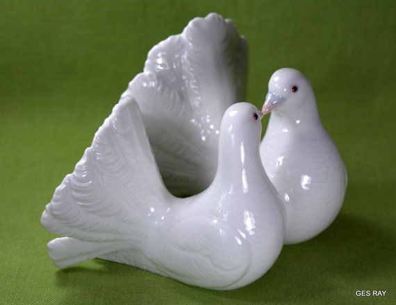 Wedding Statue Gifts: Vintage Lladro Couple Of Doves Figurine Retired Wedding
