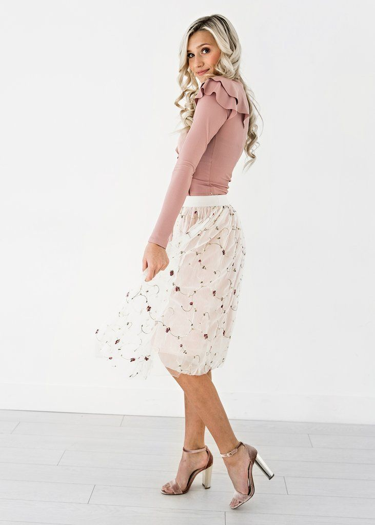 Pinstripes and Floral Tulle Skirt, JessaKae, New Arrivals, Shop, Womens Fashion, Spring Time,  Feminine, Skirt, Floral, Tulle, Pink, Details, Girly, Womens Style, Dressy, Fashion, Style