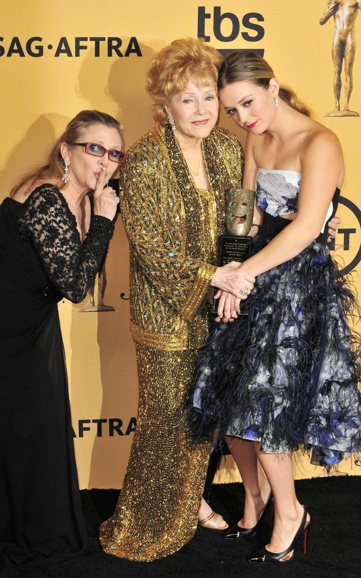 Three generations of starriness:Debbie Reynolds, Carrie Fisher and Billie Lourd in January 2015