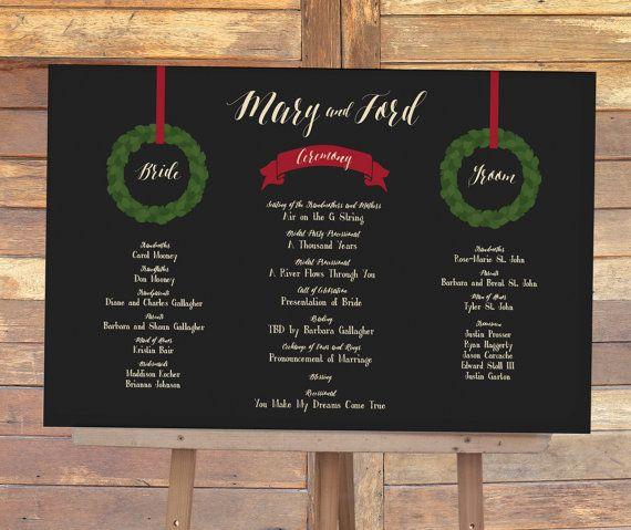 Christmas Wedding Program Sign By MDBWeddings
