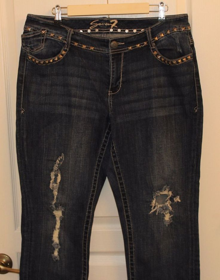 Seven 7 Brand Women's Jeans Distressed Dark Wash Plus Size 16 Women's Bootcut  | Clothing, Shoes & Accessories, Women's Clothing, Jeans | eBay!