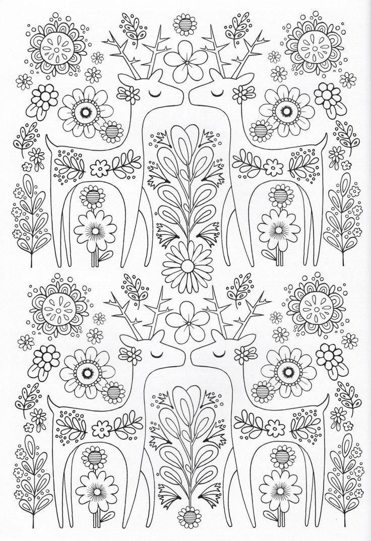 Scandinavian Coloring Book Pg 8 Color Pages Stencils
