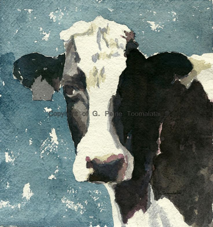 Cow painting Cow art Cow PRINT 8.5 X 11 paper size Cow watercolor Holstein cow…