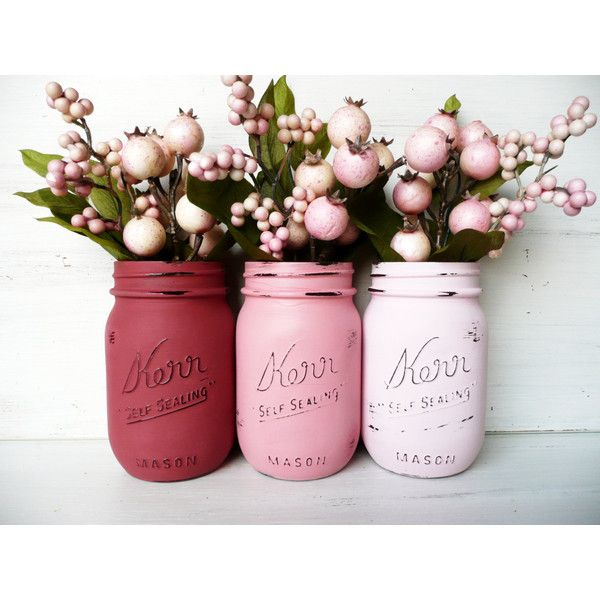Roxy Girl - Hostess Gift / Home Decor - Painted and Distressed Mason Jars - Vase ($18) found on Polyvore